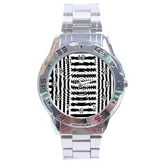 Black And White Abstract Stripped Geometric Background Stainless Steel Analogue Watch by Nexatart