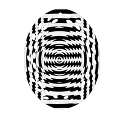 Black And White Abstract Stripped Geometric Background Oval Filigree Ornament (two Sides) by Nexatart