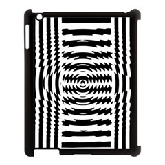 Black And White Abstract Stripped Geometric Background Apple Ipad 3/4 Case (black) by Nexatart