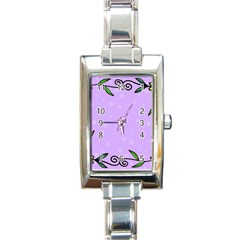 Hand Drawn Doodle Flower Border Rectangle Italian Charm Watch by Nexatart