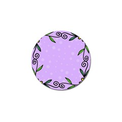 Hand Drawn Doodle Flower Border Golf Ball Marker