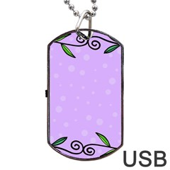 Hand Drawn Doodle Flower Border Dog Tag Usb Flash (two Sides) by Nexatart