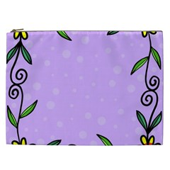 Hand Drawn Doodle Flower Border Cosmetic Bag (xxl)  by Nexatart