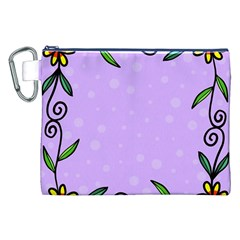 Hand Drawn Doodle Flower Border Canvas Cosmetic Bag (xxl) by Nexatart