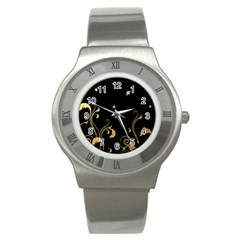 Golden Flowers And Leaves On A Black Background Stainless Steel Watch by Nexatart
