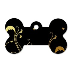 Golden Flowers And Leaves On A Black Background Dog Tag Bone (one Side) by Nexatart