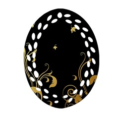 Golden Flowers And Leaves On A Black Background Ornament (oval Filigree) by Nexatart