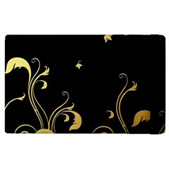 Golden Flowers And Leaves On A Black Background Apple Ipad 3/4 Flip Case by Nexatart