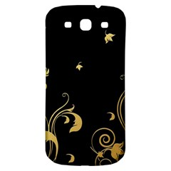 Golden Flowers And Leaves On A Black Background Samsung Galaxy S3 S Iii Classic Hardshell Back Case by Nexatart