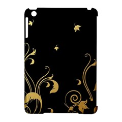 Golden Flowers And Leaves On A Black Background Apple Ipad Mini Hardshell Case (compatible With Smart Cover) by Nexatart