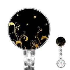 Golden Flowers And Leaves On A Black Background Stainless Steel Nurses Watch by Nexatart