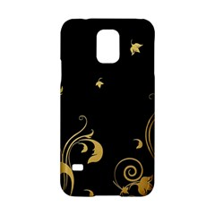 Golden Flowers And Leaves On A Black Background Samsung Galaxy S5 Hardshell Case  by Nexatart
