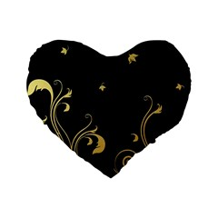 Golden Flowers And Leaves On A Black Background Standard 16  Premium Flano Heart Shape Cushions by Nexatart