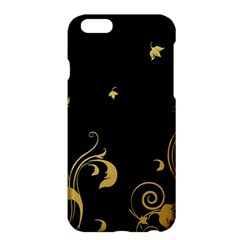 Golden Flowers And Leaves On A Black Background Apple Iphone 6 Plus/6s Plus Hardshell Case