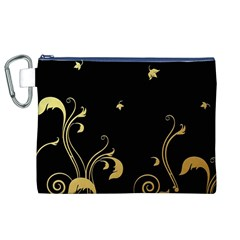 Golden Flowers And Leaves On A Black Background Canvas Cosmetic Bag (xl)