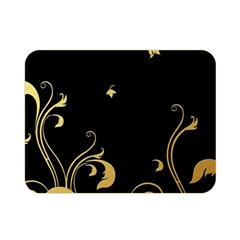 Golden Flowers And Leaves On A Black Background Double Sided Flano Blanket (mini)