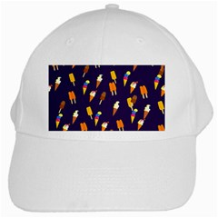 Seamless Cartoon Ice Cream And Lolly Pop Tilable Design White Cap by Nexatart