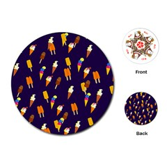 Seamless Cartoon Ice Cream And Lolly Pop Tilable Design Playing Cards (round)  by Nexatart