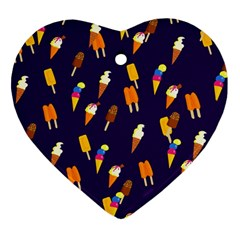 Seamless Cartoon Ice Cream And Lolly Pop Tilable Design Heart Ornament (two Sides) by Nexatart