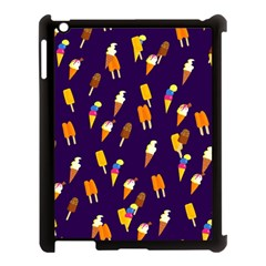Seamless Cartoon Ice Cream And Lolly Pop Tilable Design Apple Ipad 3/4 Case (black) by Nexatart