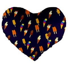 Seamless Cartoon Ice Cream And Lolly Pop Tilable Design Large 19  Premium Heart Shape Cushions by Nexatart
