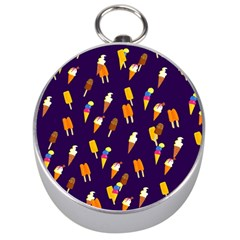Seamless Cartoon Ice Cream And Lolly Pop Tilable Design Silver Compasses by Nexatart