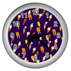 Seamless Cartoon Ice Cream And Lolly Pop Tilable Design Wall Clocks (silver)  by Nexatart