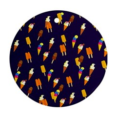 Seamless Cartoon Ice Cream And Lolly Pop Tilable Design Round Ornament (two Sides) by Nexatart