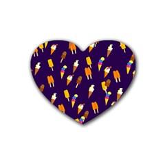 Seamless Cartoon Ice Cream And Lolly Pop Tilable Design Rubber Coaster (heart)  by Nexatart