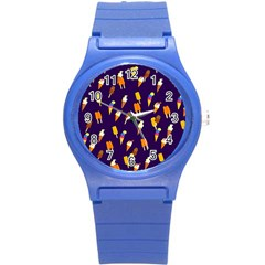 Seamless Cartoon Ice Cream And Lolly Pop Tilable Design Round Plastic Sport Watch (s) by Nexatart