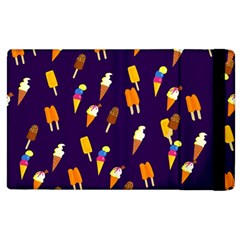 Seamless Cartoon Ice Cream And Lolly Pop Tilable Design Apple Ipad 2 Flip Case by Nexatart