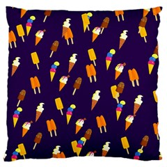 Seamless Cartoon Ice Cream And Lolly Pop Tilable Design Large Flano Cushion Case (one Side) by Nexatart
