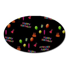 Cartoon Birthday Tilable Design Oval Magnet by Nexatart