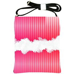 Digitally Designed Pink Stripe Background With Flowers And White Copyspace Shoulder Sling Bags by Nexatart