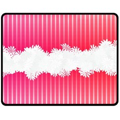 Digitally Designed Pink Stripe Background With Flowers And White Copyspace Fleece Blanket (medium)  by Nexatart