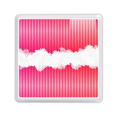 Digitally Designed Pink Stripe Background With Flowers And White Copyspace Memory Card Reader (square)  by Nexatart