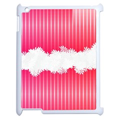 Digitally Designed Pink Stripe Background With Flowers And White Copyspace Apple Ipad 2 Case (white) by Nexatart