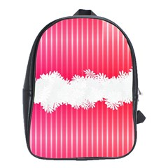 Digitally Designed Pink Stripe Background With Flowers And White Copyspace School Bags (XL)