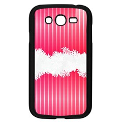 Digitally Designed Pink Stripe Background With Flowers And White Copyspace Samsung Galaxy Grand Duos I9082 Case (black) by Nexatart