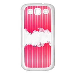 Digitally Designed Pink Stripe Background With Flowers And White Copyspace Samsung Galaxy S3 Back Case (white) by Nexatart