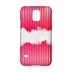 Digitally Designed Pink Stripe Background With Flowers And White Copyspace Samsung Galaxy S5 Hardshell Case  by Nexatart