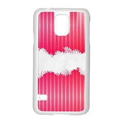 Digitally Designed Pink Stripe Background With Flowers And White Copyspace Samsung Galaxy S5 Case (white) by Nexatart