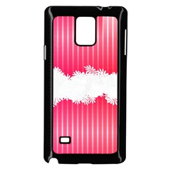Digitally Designed Pink Stripe Background With Flowers And White Copyspace Samsung Galaxy Note 4 Case (black) by Nexatart