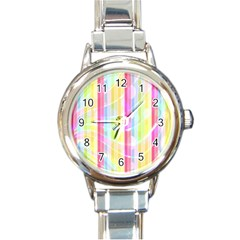 Abstract Stipes Colorful Background Circles And Waves Wallpaper Round Italian Charm Watch by Nexatart