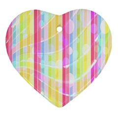 Abstract Stipes Colorful Background Circles And Waves Wallpaper Ornament (heart) by Nexatart