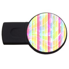 Abstract Stipes Colorful Background Circles And Waves Wallpaper Usb Flash Drive Round (2 Gb) by Nexatart