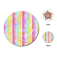 Abstract Stipes Colorful Background Circles And Waves Wallpaper Playing Cards (round)  by Nexatart
