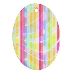 Abstract Stipes Colorful Background Circles And Waves Wallpaper Oval Ornament (two Sides) by Nexatart