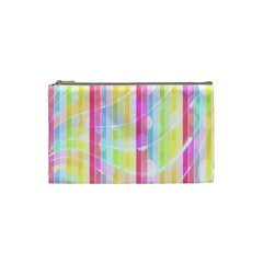 Abstract Stipes Colorful Background Circles And Waves Wallpaper Cosmetic Bag (Small)