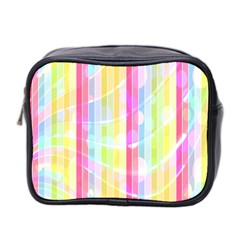 Abstract Stipes Colorful Background Circles And Waves Wallpaper Mini Toiletries Bag 2 Side by Nexatart